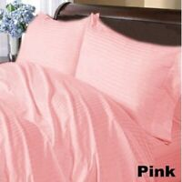 Egyptian Cotton Pink Bedding Collection 1000 TC Striped Pattern US Sizes