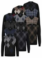 Mens Jumper V Neck Crew Argyle Golf Knitted Diamond Pattern Pullover New Casual