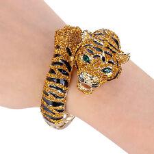 Brown Tiger Animal Bangle Cuff Topaz Austrian Crystal Enamel Gold Tone Gift