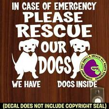 RESCUE OUR DOGS EMERGENCY Vinyl Decal Sticker Dog Pet Front Door Window Sign