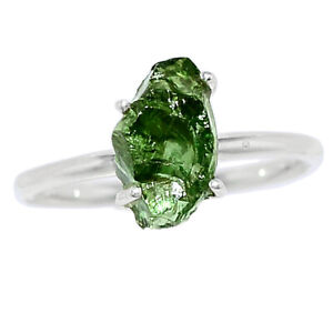 Rare Green Apatite 925 Sterling Silver Ring Jewelry s.6 BR104190