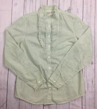 EUC Women's L.L. Bean Green and White Striped Mocked Neck Ruffle Front Top-M