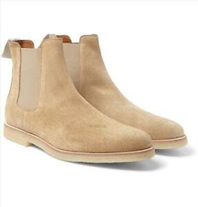 Men Retro Suede LeatherAnkle Boots Pointy Toe Chukka Chelsea Boots Pull On Shoes