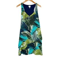 Cupio Womens Palm Leaf Shift Dress Tropical Vacation Sleeveless Size Medium