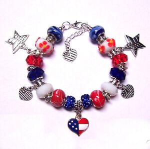 RED WHITE BLUE 4TH OF JULY PATRIOTIC USA EUROPEAN STYLE MURANO CHARM BRACELET