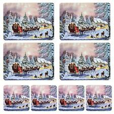 Christmas Tableware 4 Pack Corked Back Coasters / Placemats - Santa Sleigh
