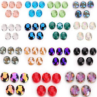 10pcs 20x16mm Faceted Oblong Cut Glass Crystal Loose Spacer Oval Beads DIY Bead