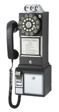 Pay Phone Retro Vintage Style Telephone Classic Corded Wall Mount Coin Black New