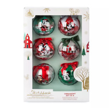 Disney Mickey and Friends Christmas Set of 6 Baubles:Mickey, Minnie, Chip & Dale