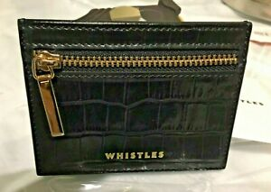 Whistles Purse Coin Black Leather Mock Croc Card Travel Wallet BNWT Gold Zip