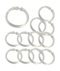 Set of 12 Easy-to-Use Plastic Snap On Shower Curtain Rings / Hooks ALL COLORS