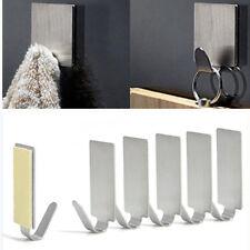 6 x Adhesive Kitchen Wall Door Stainless Steel Stick Holder Hook Hanger New