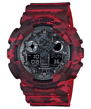 New Casio G-Shock Camouflage Dial Series Red Resin Quartz Men's Watch GA100CM-4A