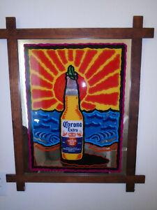 Vintage Corona Extra La Cerveza Mas Fina Mirror Wood Framed Bar Beer Sign