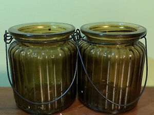 Set Of 2 Ribbed Dark Green Glass Jars w/ Wire Metal Handle For Candle Or Candy