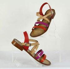Multicoloured Leather Strappy Heels for Women