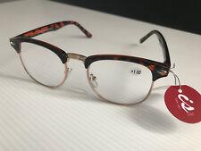 New In Case Retro Readers Classic Reading Glasses Tortoiseshell Frame +1.00 Lens
