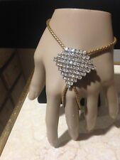Slave Bracelet Hand Harness Jewelry Vintage Gold Tone & Rhinestone Adornment