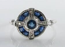 LOVELY 9 Carati 9k oro bianco zaffiro blu e diamante ART DECO INS Anello libero ridimensionamento