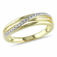 Yellow Sterling Silver Diamond Accent Fashion Twist Crossover High-Polish Ring
