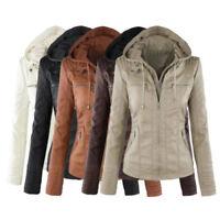 UK Lady Womens PU Leather Jacket Hooded Motor Coat Winter Outwear Parka Overcoat