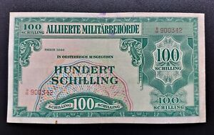 AUSTRIA 100 Schilling 1944 Allied Occupation, VF banknote!