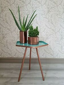 Hexagonal Metal SideTable. A68440 Copper/Blue. Coffee/Side or Bedside table. New