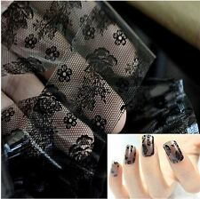 DIY Black Lace Flower Nail Art Transfer Foil Stickers Manicure Boho Decoration