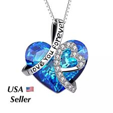"""Silver """"I Love You Forever"""" Heart Infinity Crystal Pendant Necklace Mom Wife N8"""
