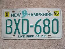 1996 New Hampshire License Plate BXD-680 - LIVE FREE OR DIE