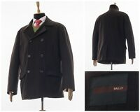 Mens BALLY Double Breasted Wool Pea Coat Jacket Brown Size XL