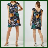 NEW Ex Dorothy Perkins Floral Print Dress BLACK Summer Holiday Dress Size 6 - 20