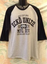 Ecko Unltd Men's Half Sleeve Baseball Style T-Shirt Size XL Gray & Black Tee