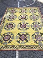 Vintage Uzbek suzani handmade bedcover, bohemian home design textiles