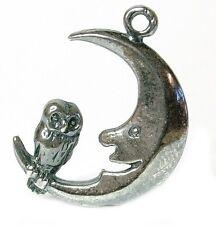 VINTAGE SILVER OWL & MOON CHARM