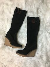 Juicy Couture Smells Like Couture Black Wedge Suede Boots Shoes Sz 6.5-7