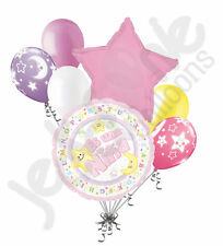 7 pc Es Una Nina Stars & Moon Balloon Bouquet Party Decoration Welcome Pink Girl