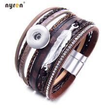 5pcs Genuine Leather Bangle Bracelet 20mm Snaps Jewelry Fit 18mm Snap Button 653