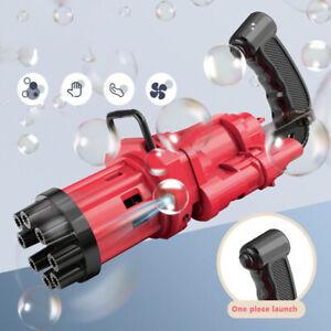 NEW Kids Automatic Gatling Bubble Gun Toys Summer Soap Water Bubble Machine