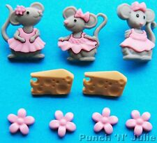 La Souris Fille-Gris souris robe rose fromage Fleur Dress It Up Craft Boutons