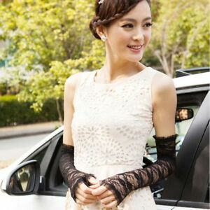 Women's Lace Sexy Fingerless Wedding Party Travel Long Lace Arm Elbow Gloves