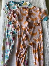 Girls Size 24 Months Footed Zip Up Pajamas 2 Piece Lot (Carter's And BabiesRus)