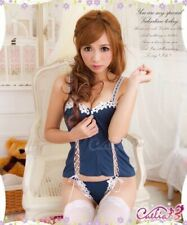 Blue Bustier G-string Lingerie Set Sweetheart Top Zip Lace Up Floral Corset
