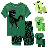 Kids Baby Boy Tops+Pants Dinosaur Pajamas Set Summer Sleepwear Nightwear Clothes
