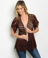 New Ever Breeze Boho Crochet Knit Western Short Sleeve Cardigan Cover-Up L