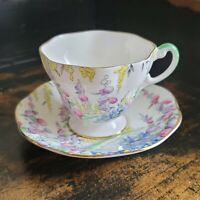 Foley Floral Tea Cup and Saucer Set, Pink Yellow Floral Design, English tea set
