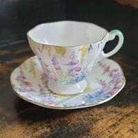 Foley Floral Tea Cup and Saucer Set, Pink Yellow Floral Design, English tea set