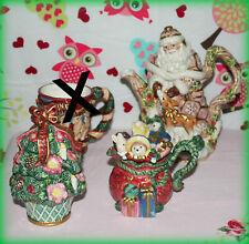 Fitz & Floyd Lot Of 3 Collectible Holiday Santa Teapot, Creamer, Sugar Jar