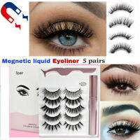 Waterproof Magnetic Eyeliner with 5 Pairs Eyelashes and Tweezer Long Lashes Set