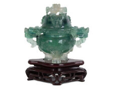 China Fr. 20. Jh Fluorit Censer -An elaborate Carved Chinese Koro Chinois Cinese